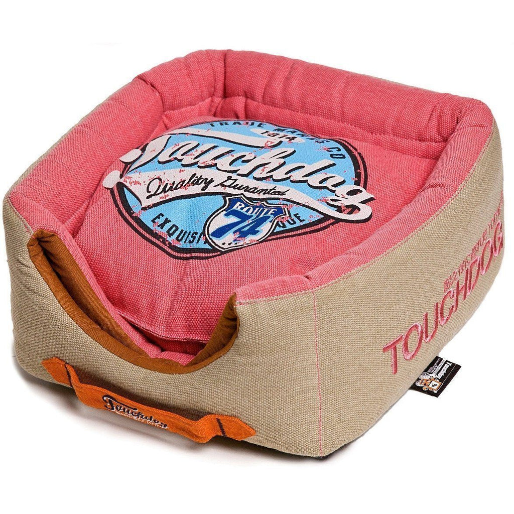 Touchdog ® 'Vintage Squared' Convertible and Reversible Retro Printed 2-in-1 Collapsible Pet Dog Cat House Bed Bubblegum Pink, Beige