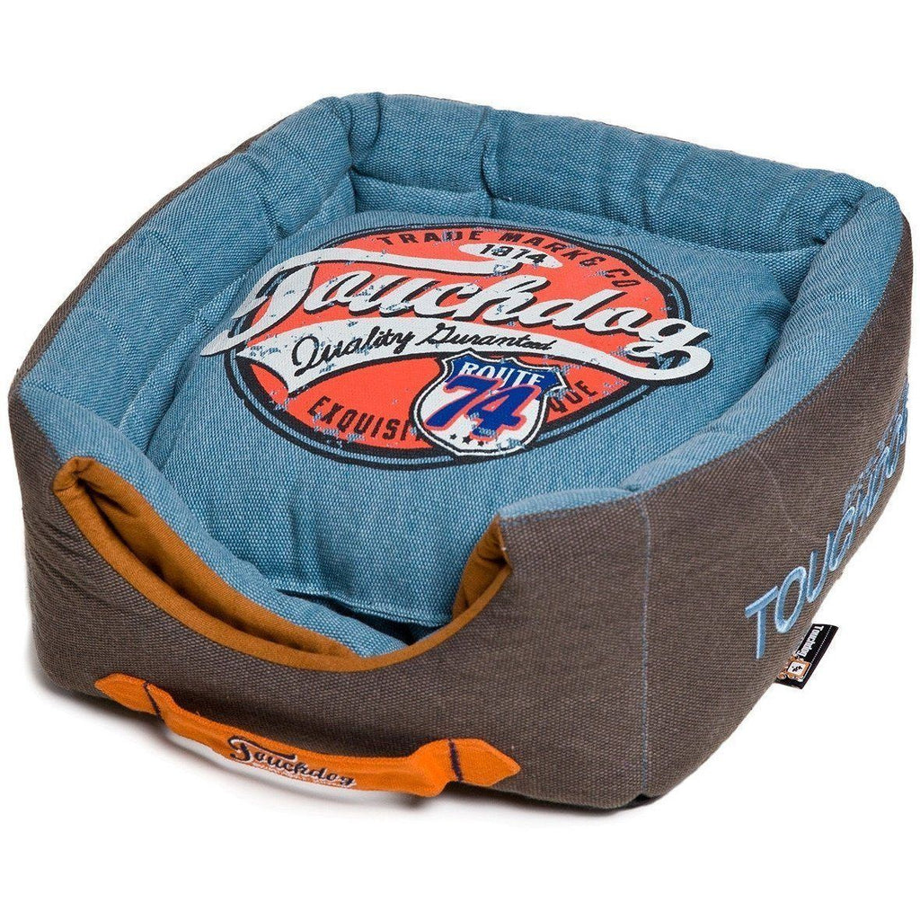 Touchdog ® 'Vintage Squared' Convertible and Reversible Retro Printed 2-in-1 Collapsible Pet Dog Cat House Bed Denim Blue, Mud Brown