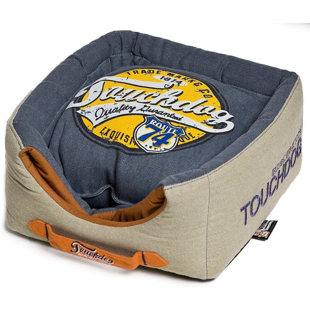 Touchdog ® 'Vintage Squared' Convertible and Reversible Retro Printed 2-in-1 Collapsible Pet Dog Cat House Bed Navy Blue, Beige