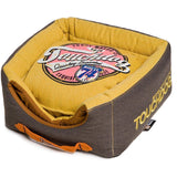 Touchdog ® 'Vintage Squared' Convertible and Reversible Retro Printed 2-in-1 Collapsible Pet Dog Cat House Bed Mustard Yellow, Dark Brown