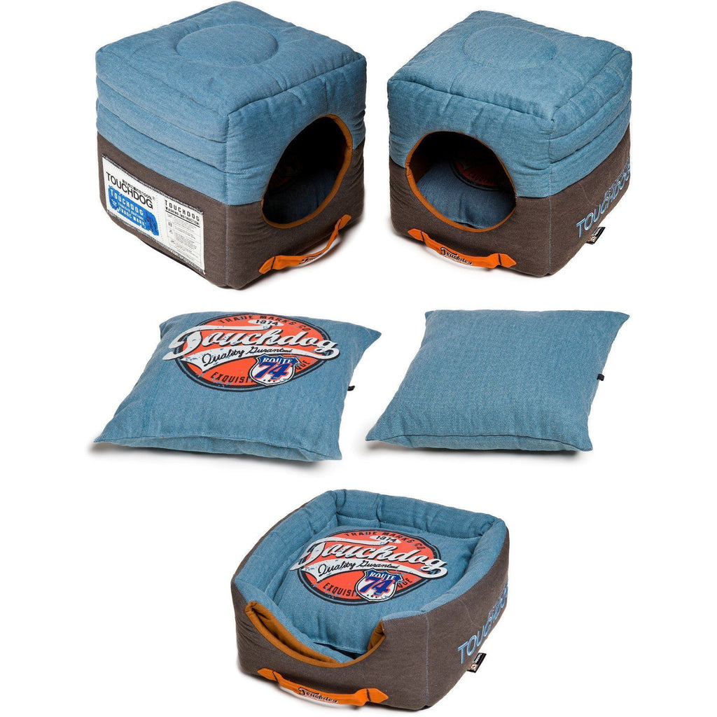 Touchdog ® 'Vintage Squared' Convertible and Reversible Retro Printed 2-in-1 Collapsible Pet Dog Cat House Bed