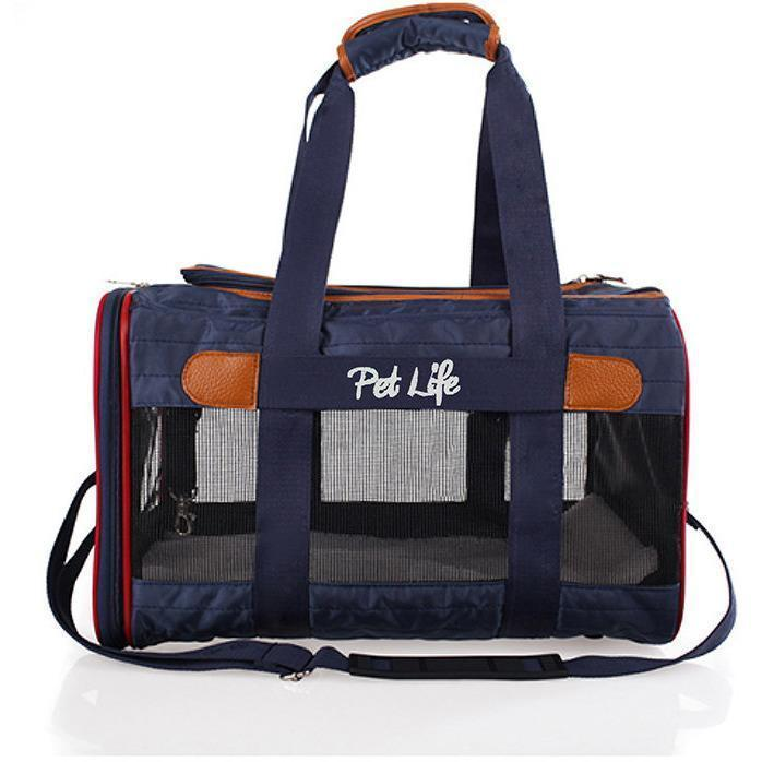 Pet Life ® 'Aero-Zoom' Airline Approved lightweight Wire Framed Folding Collapsible Fashion Pet Dog Carrier Default Title
