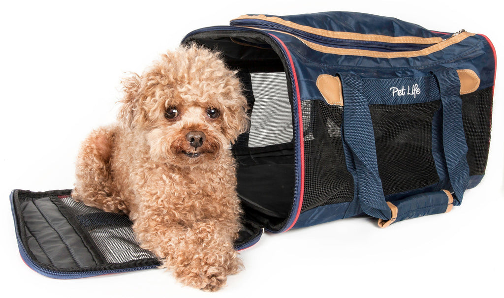 Pet Life ® 'Aero-Zoom' Airline Approved lightweight Wire Framed Folding Collapsible Fashion Pet Dog Carrier
