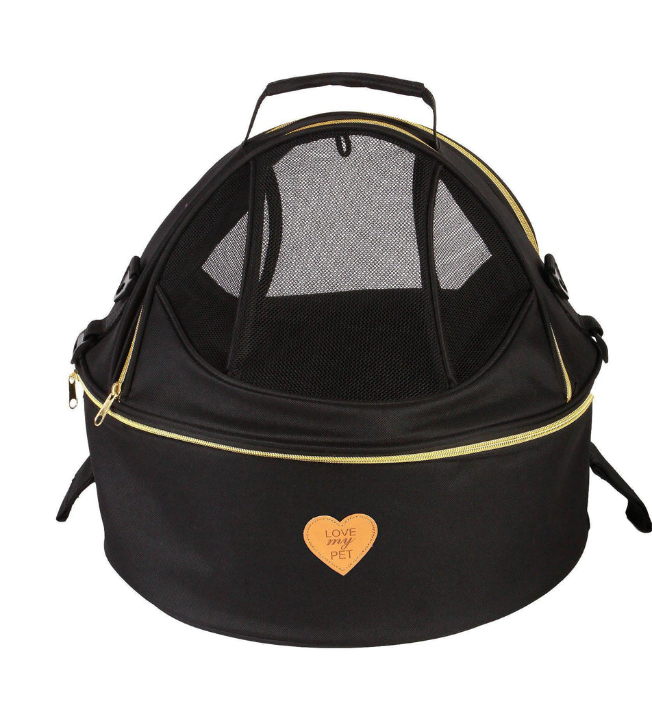 Pet Life ®  'Air-Venture' Dual-Zip Airline Approved Panoramic Circular Travel Pet Dog Carrier Black