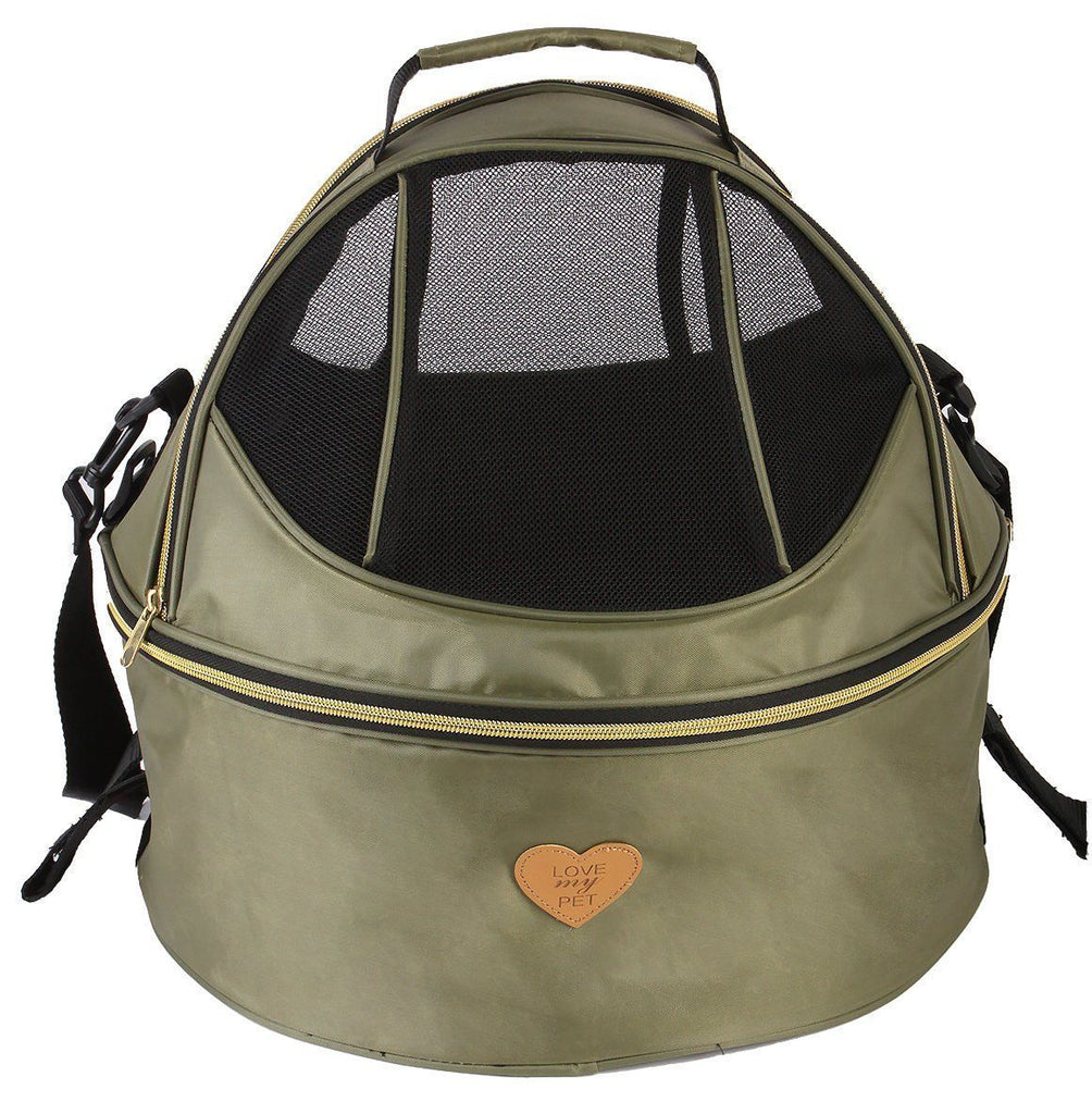 Pet Life ®  'Air-Venture' Dual-Zip Airline Approved Panoramic Circular Travel Pet Dog Carrier Olive Green