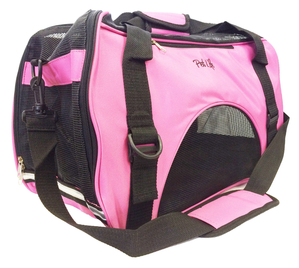 Pet Life ® 'Altitude Force' Airline Approved Sporty Zippered Folding Fashion Pet Dog Carrier Medium Pink