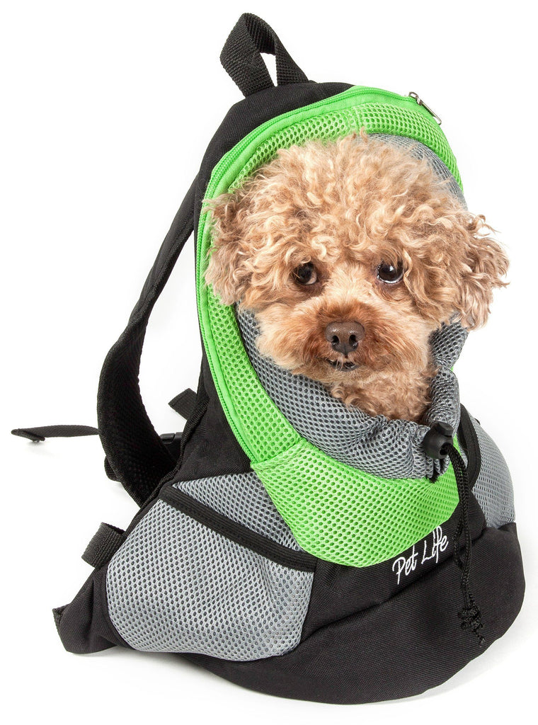 Pet Life ® 'Bark-Pack' Travel On-The-Go Hand's Free Sporty Performance Pet Dog Backpack Carrier Green