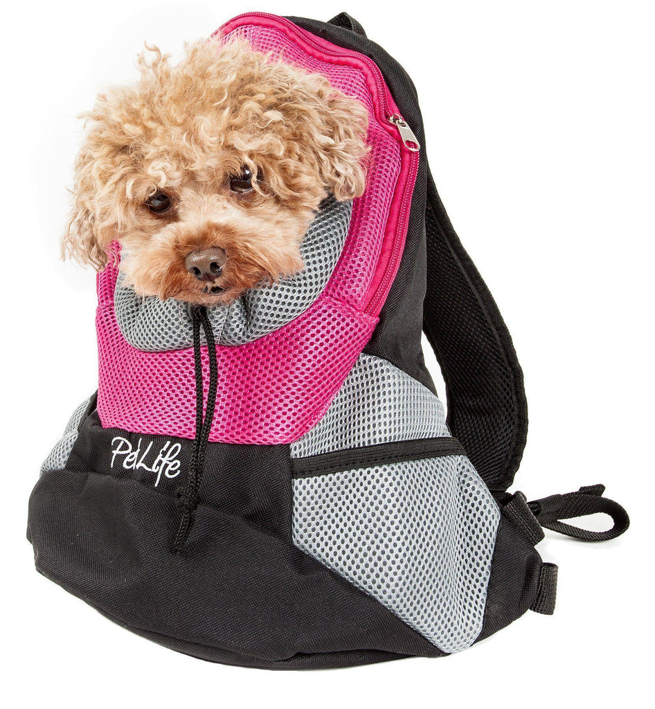 Pet Life ® 'Bark-Pack' Travel On-The-Go Hand's Free Sporty Performance Pet Dog Backpack Carrier Pink