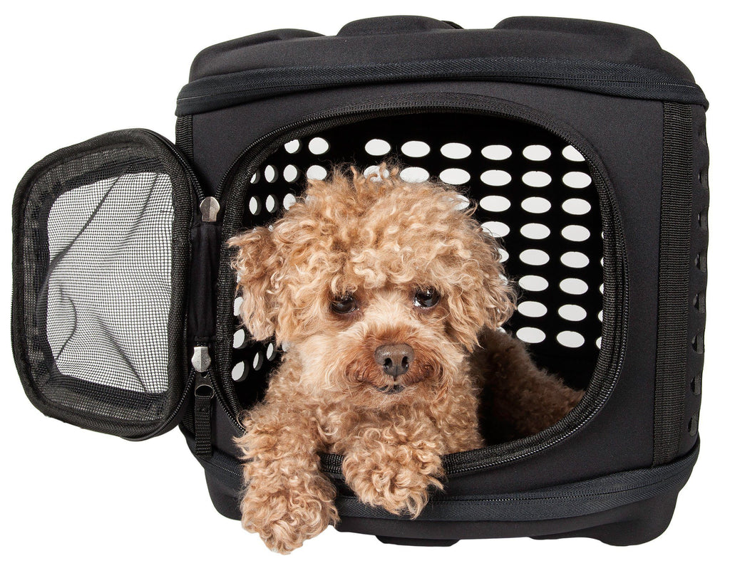 Pet Life ® 'Circular Shelled' Perforated Lightweight Collapsible Military Grade Travel Pet Dog Carrier Charcoal Black