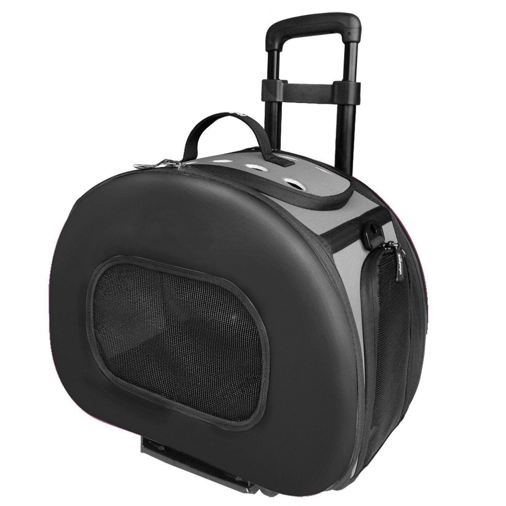 Pet Life ® 'Final Destination' Airline Approved 2-in-1 Tough-Shell Wheeled Collapsible Travel Fashion Pet Dog Carrier Crate Black