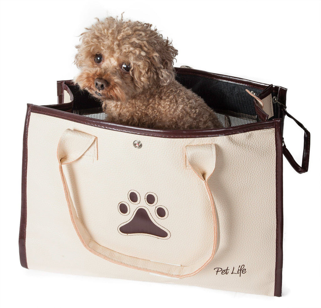 Pet Life ® 'Posh Paw' Elegant Leatherette Designer Fashion Travel Pet Dog Carrier Tote White & Brown