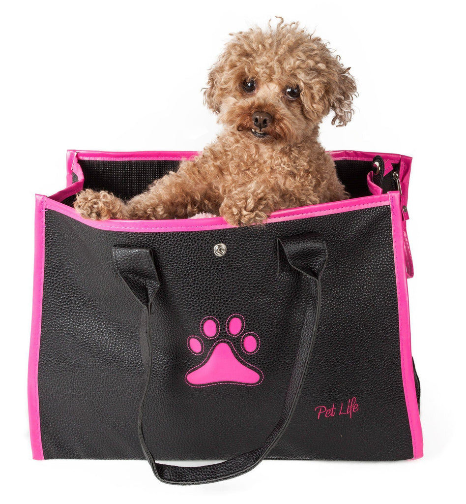 Pet Life ® 'Posh Paw' Elegant Leatherette Designer Fashion Travel Pet Dog Carrier Tote Black & Pink