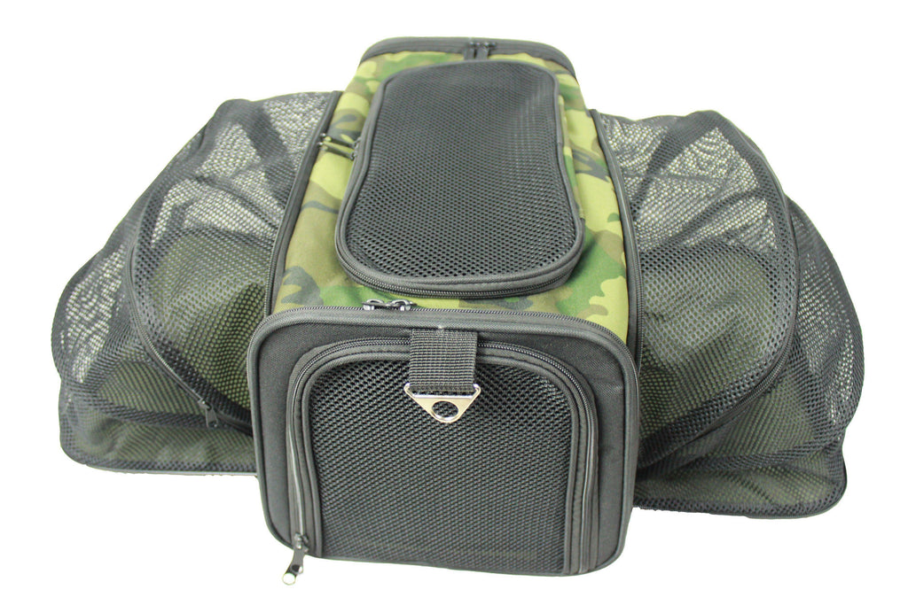 Pet Life ® 'Roomeo' Airline Approved Dual Expandable and Folding Collapsible Fashion Travel Pet Dog Carrier Crate Camouflage