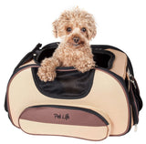 Pet Life ® 'Sky-Max' Airline Approved Designer Sporty Collapsible Travel Fashion Pet Dog Carrier Light Brown