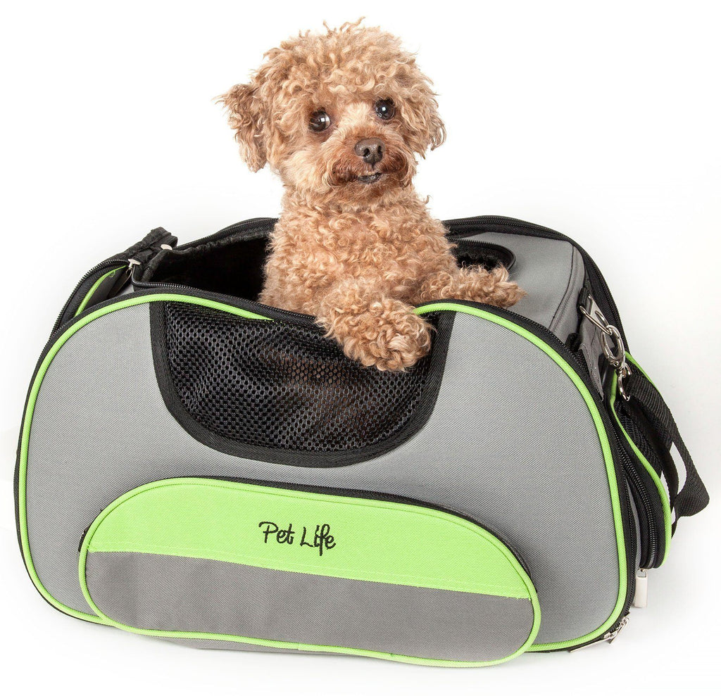 Pet Life ® 'Sky-Max' Airline Approved Designer Sporty Collapsible Travel Fashion Pet Dog Carrier Grey
