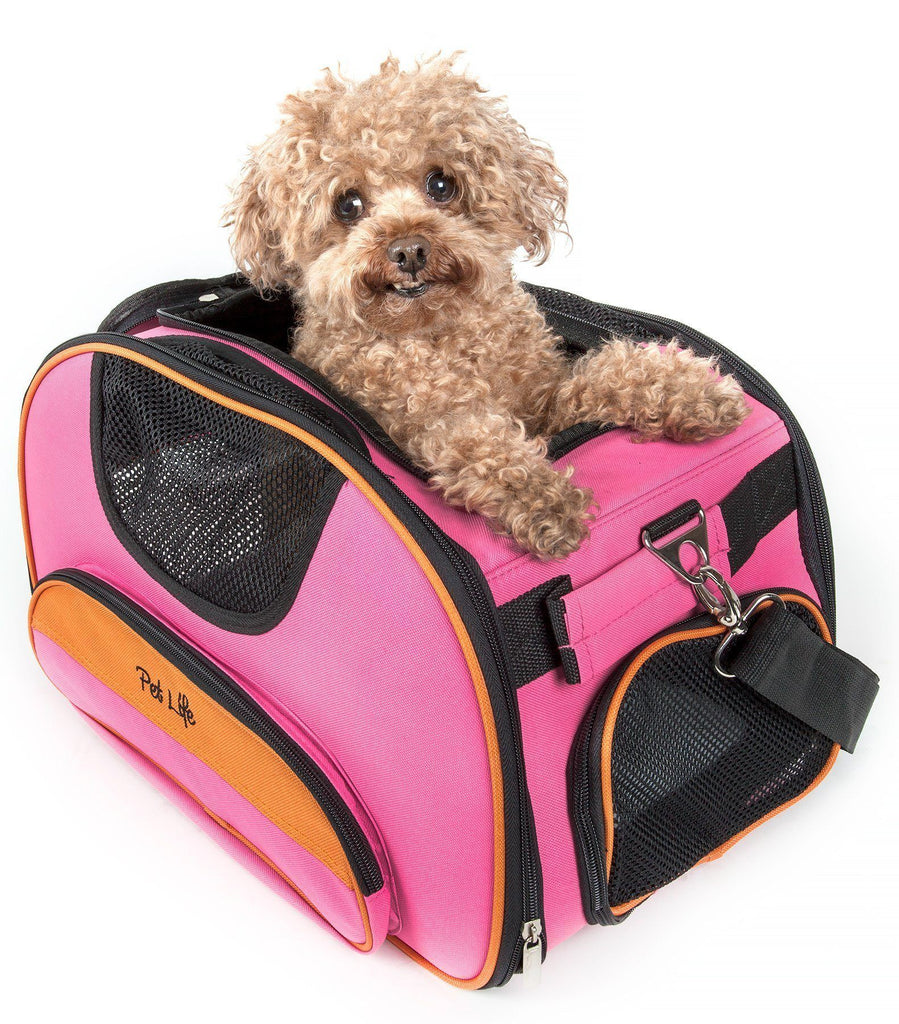 Pet Life ® 'Sky-Max' Airline Approved Designer Sporty Collapsible Travel Fashion Pet Dog Carrier Pink