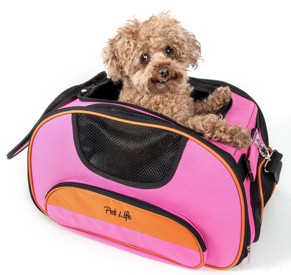 Pet Life ® 'Sky-Max' Airline Approved Designer Sporty Collapsible Travel Fashion Pet Dog Carrier