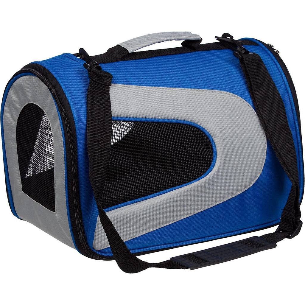 Pet Life ® Sporty Mesh Airline Approved Zippered Folding Collapsible Travel Pet Dog Carrier Medium Blue & Grey