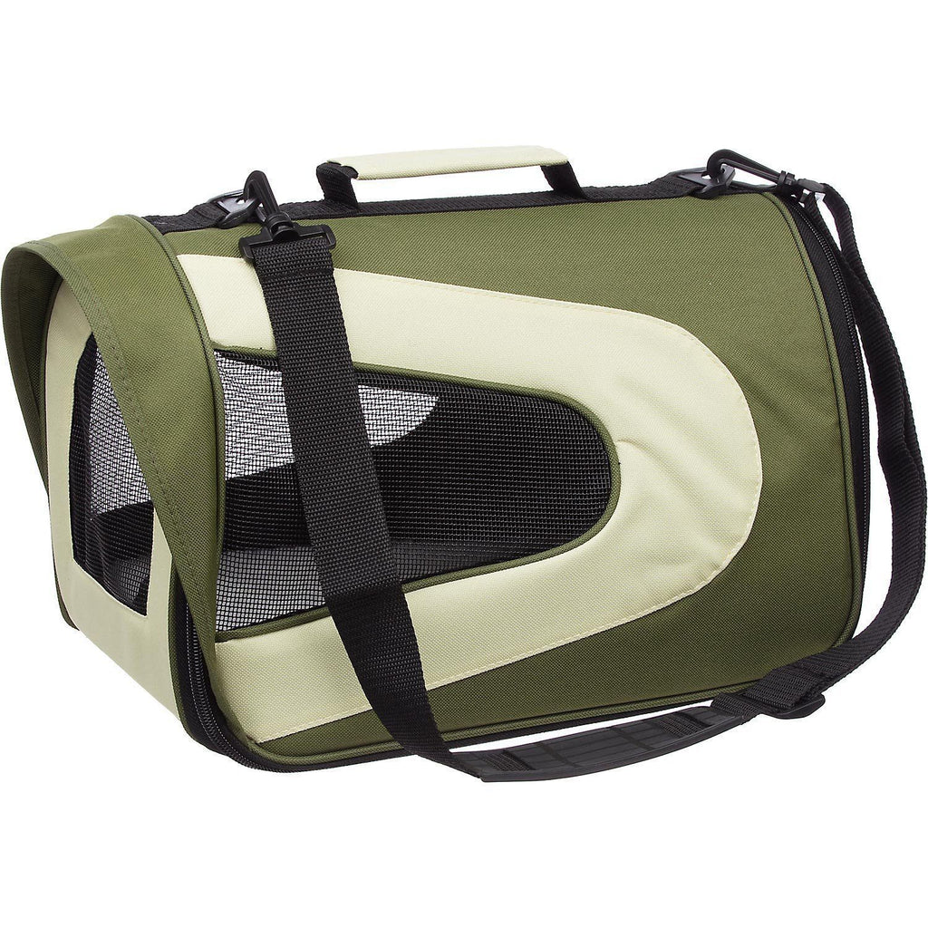 Pet Life ® Sporty Mesh Airline Approved Zippered Folding Collapsible Travel Pet Dog Carrier Medium Green & Khaki