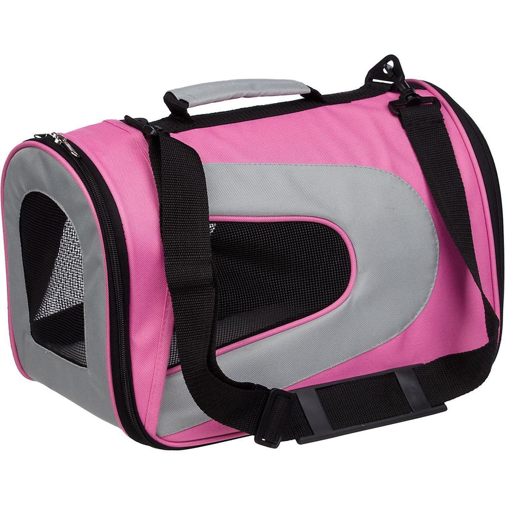 Pet Life ® Sporty Mesh Airline Approved Zippered Folding Collapsible Travel Pet Dog Carrier Medium Pink & Cream