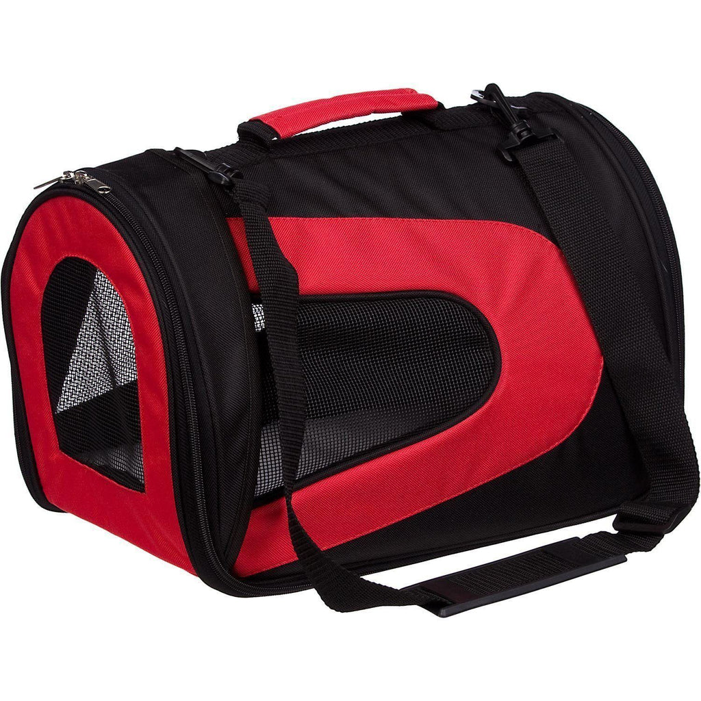 Pet Life ® Sporty Mesh Airline Approved Zippered Folding Collapsible Travel Pet Dog Carrier Medium Red & Black