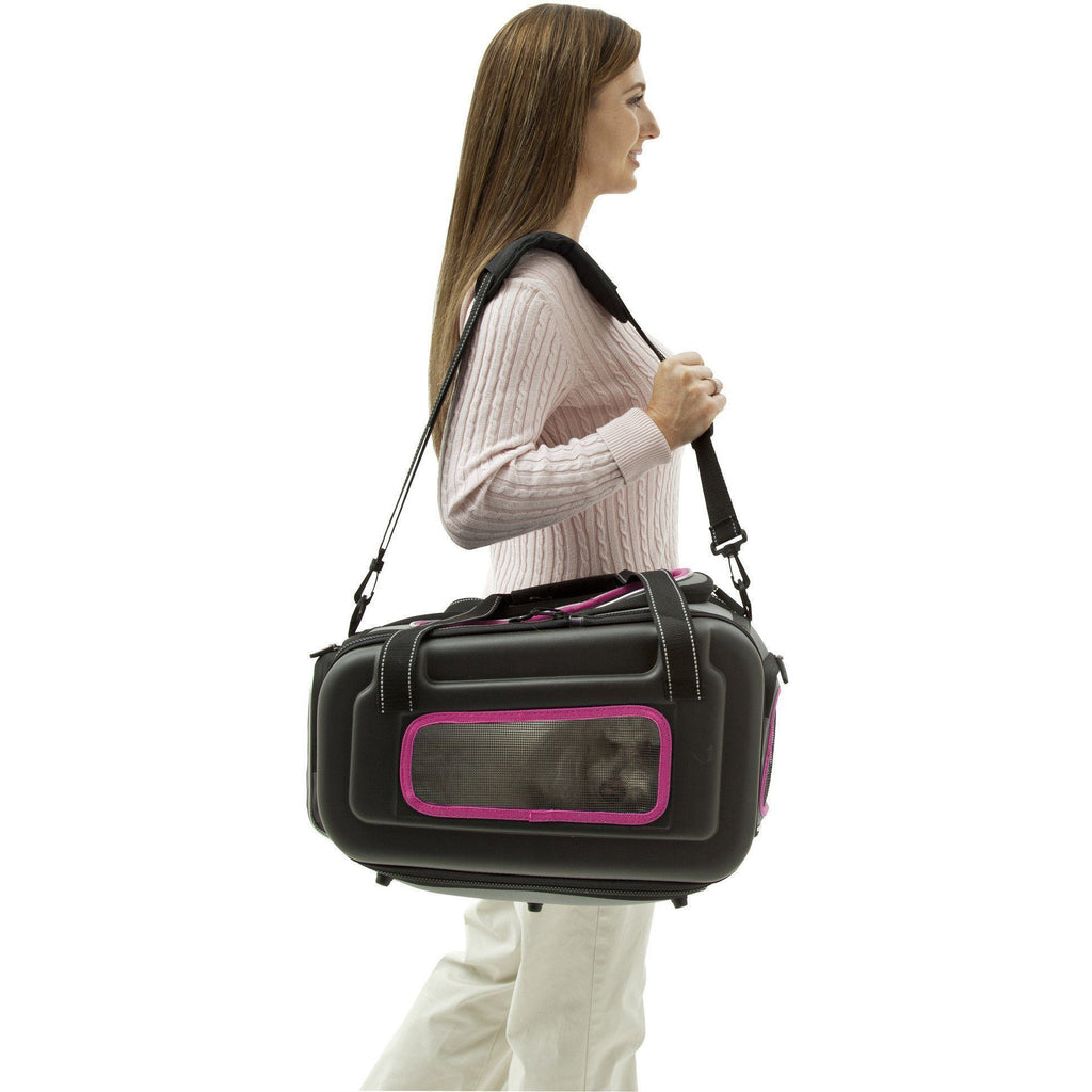 Pet Life ® 'Stow-Away' Airline Approved Ergonomically designed Collapsible Lightweight Travel Pet Dog Carrier Black, Pink