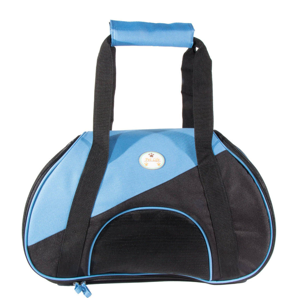 Pet Life ® 'Zip-N-Go' Airline Approved Contoured Fashion Designer Pet Dog Carrier Blue, Black