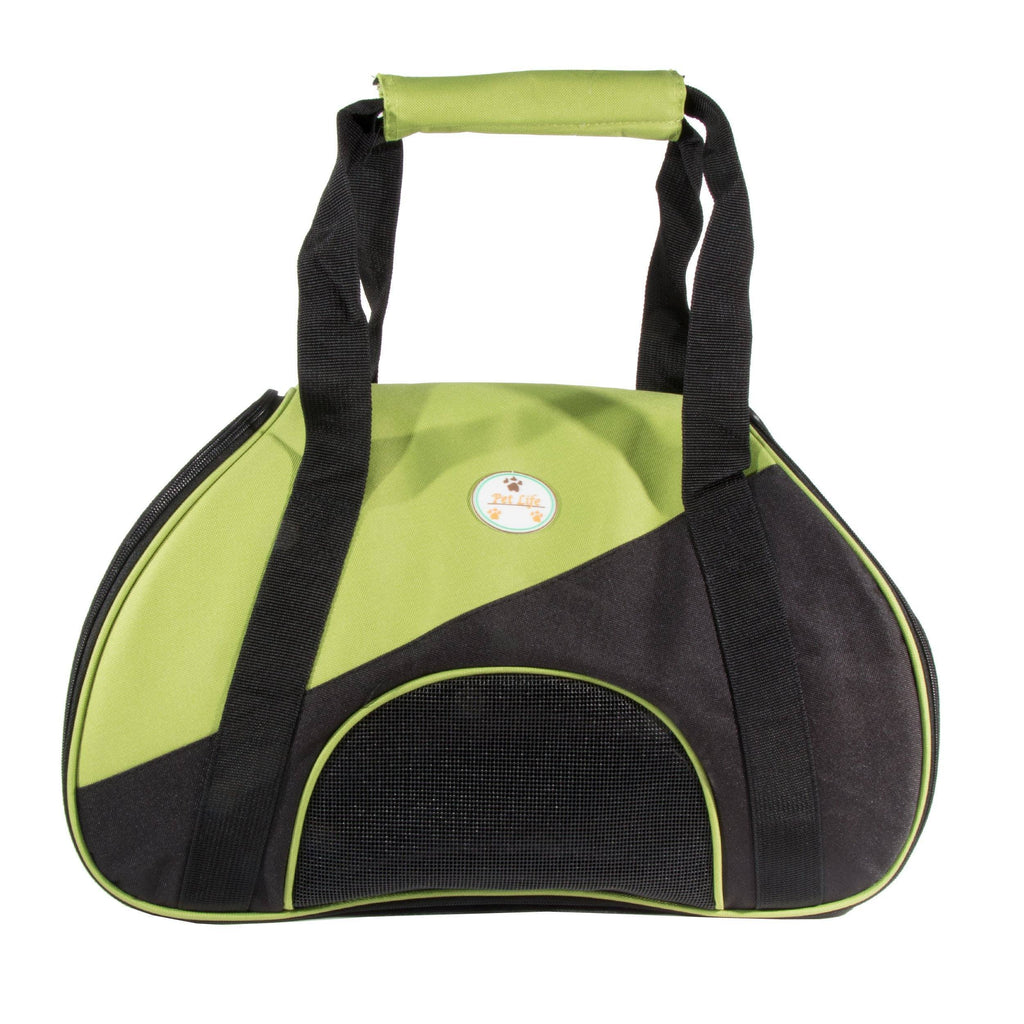 Pet Life ® 'Zip-N-Go' Airline Approved Contoured Fashion Designer Pet Dog Carrier Green, Black