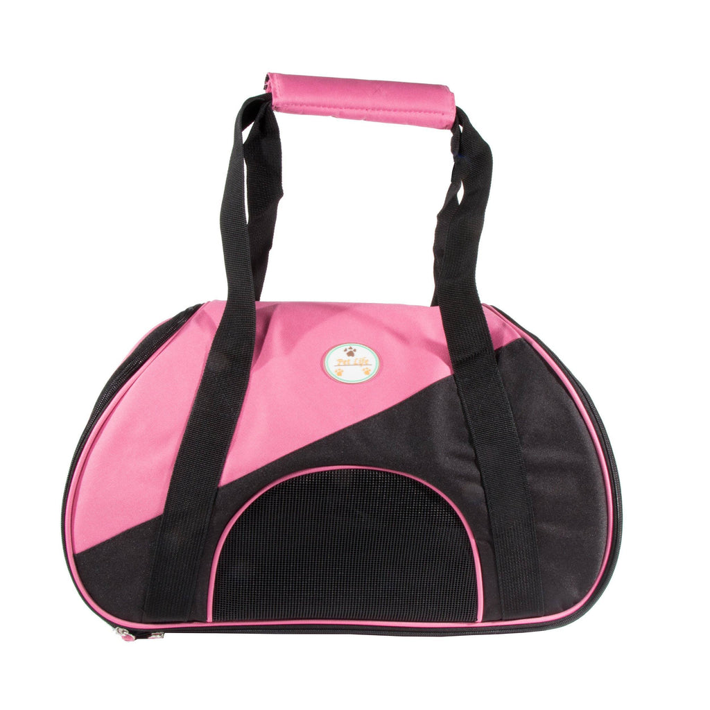 Pet Life ® 'Zip-N-Go' Airline Approved Contoured Fashion Designer Pet Dog Carrier Pink, Black