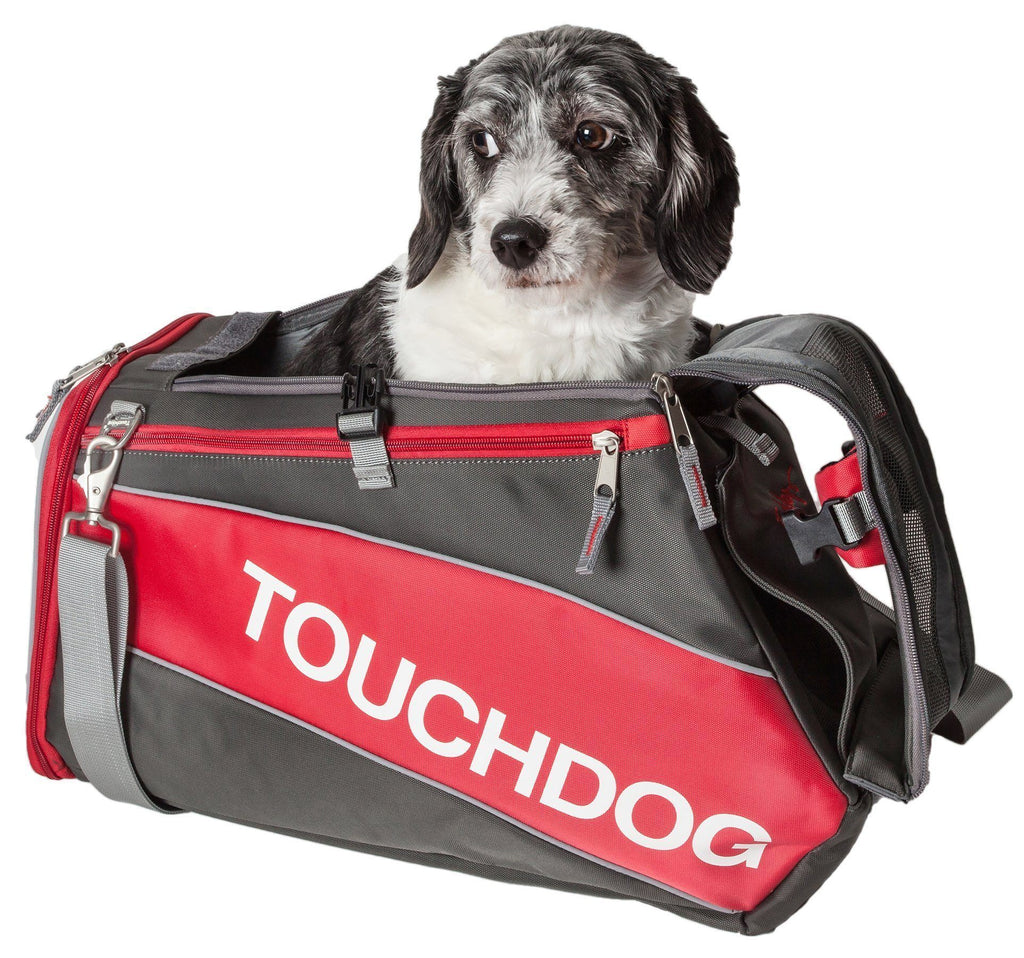 Touchdog ® 'Modern-Glide' Airline Approved Water-Resistant Sporty Travel Fashion Pet Dog Carrier Red