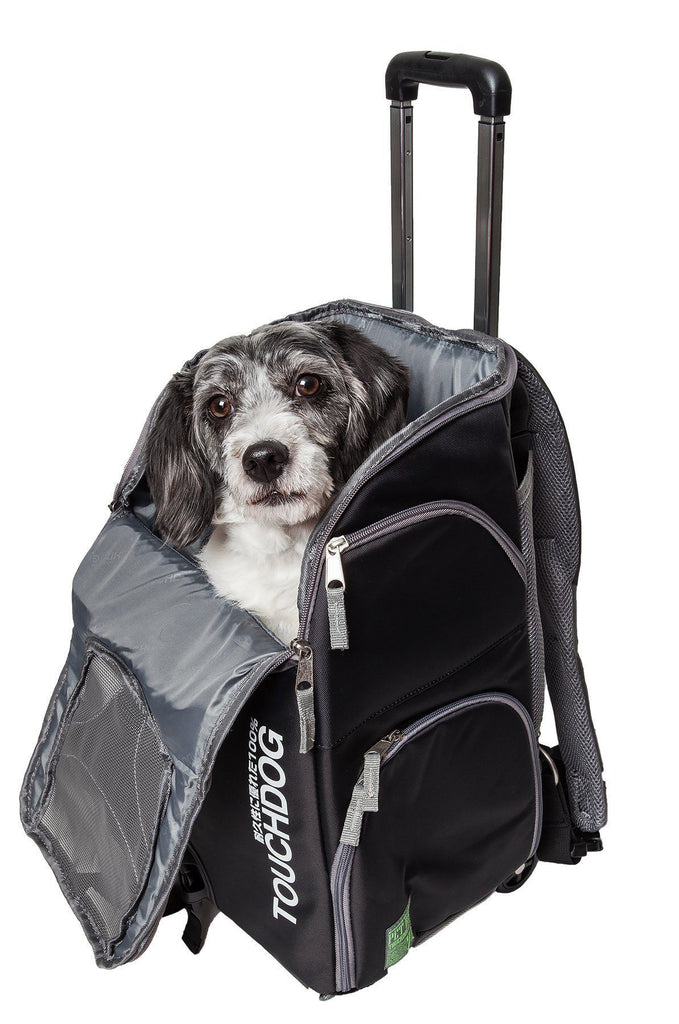 Touchdog ® 'Wuffle Duffle' 2-in-1 Wheeled Backpack Sporty Fashion Pet Dog Carrier