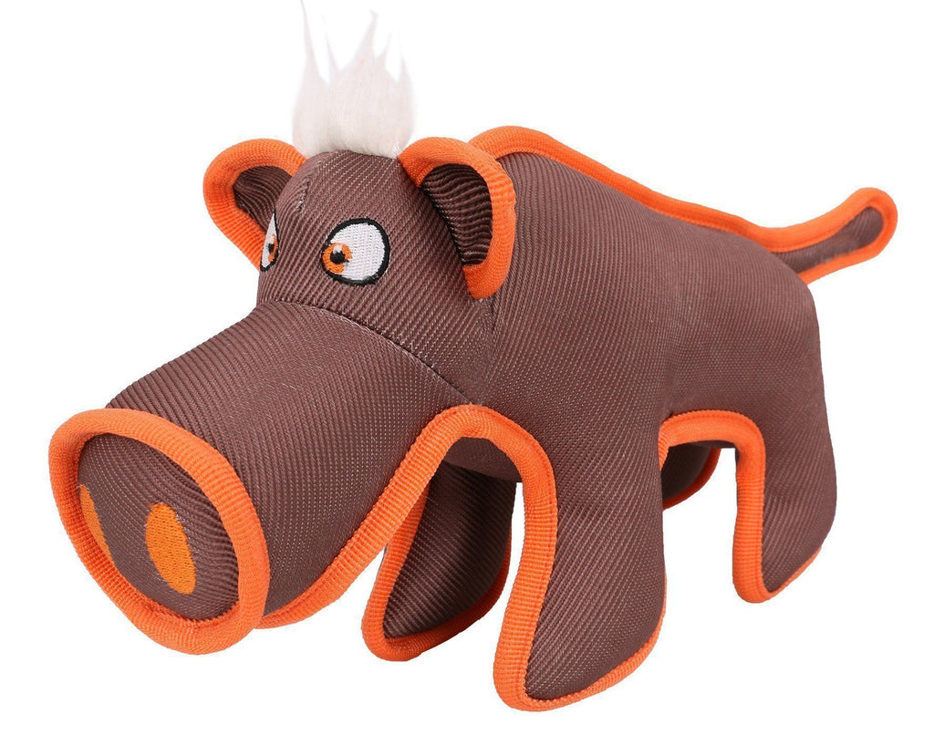 Pet Life ® Animal Dura-Chew Nylon Plush Chew Squeak Tugging Tug Pet Dog Toy Brown