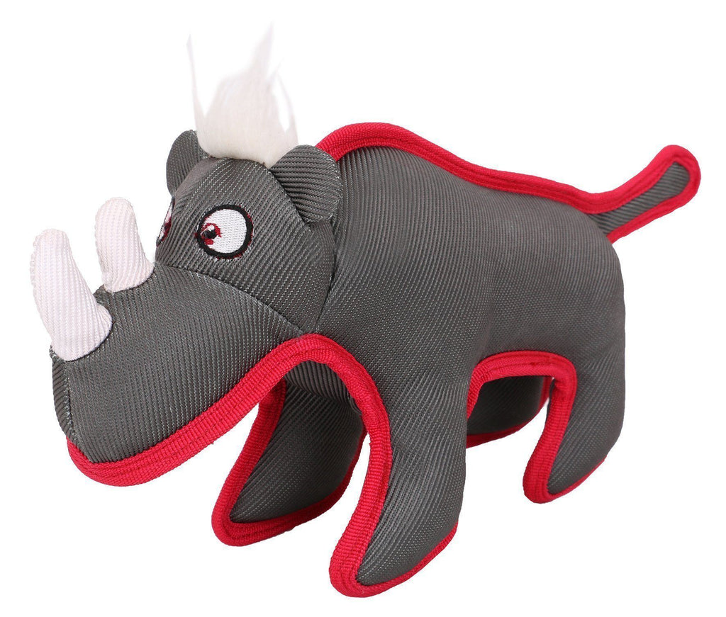 Pet Life ® Animal Dura-Chew Nylon Plush Chew Squeak Tugging Tug Pet Dog Toy Grey