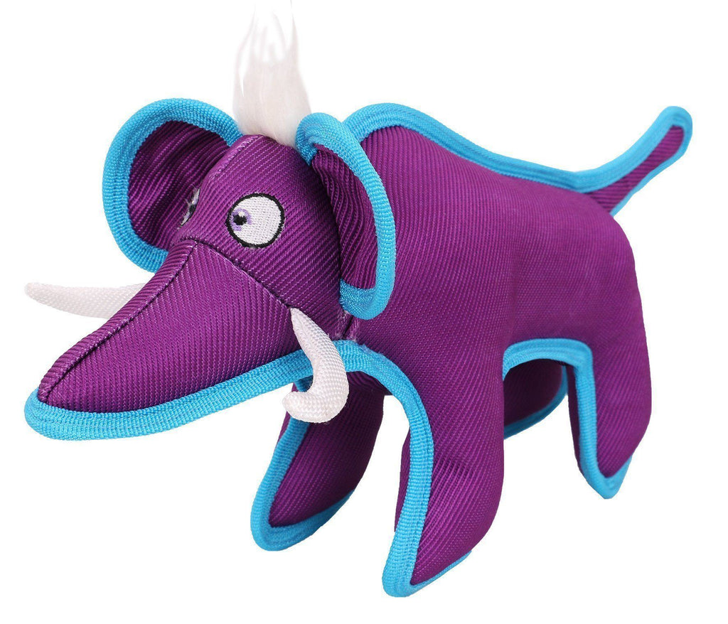 Pet Life ® Animal Dura-Chew Nylon Plush Chew Squeak Tugging Tug Pet Dog Toy Purple