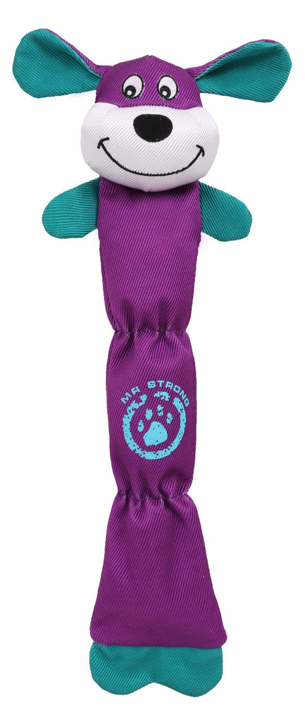 Pet Life ® Animated Extra Long Nylon Squeaker Dura-Chew Plush Chew Tugging Pet Dog Toy Purple