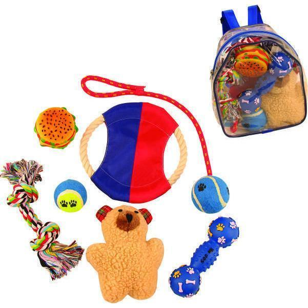 Pet Life ® 'Backpack' 8 Piece Jute Rope and Rubberized Squeak Chew Pet Dog Toy Gift Set Default Title