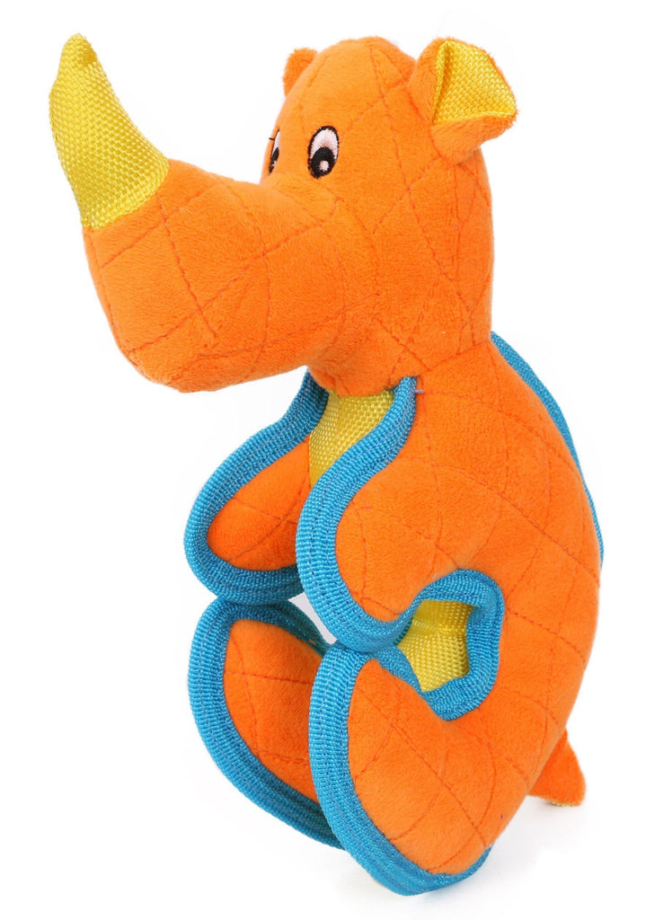 Pet Life ® 'Dino-Funimal' Animated Cartoon Quilted Plush Nylon Quilted Animal Squeaker Chew Tug Pet Dog Toy Orange