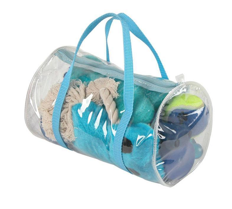 Pet Life ® 'Duffle Bag' 8 Piece Jute Rope and Rubberized Squeak Chew Pet Dog Toy Gift Set Blue