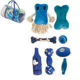 Pet Life ® 'Duffle Bag' 8 Piece Jute Rope and Rubberized Squeak Chew Pet Dog Toy Gift Set