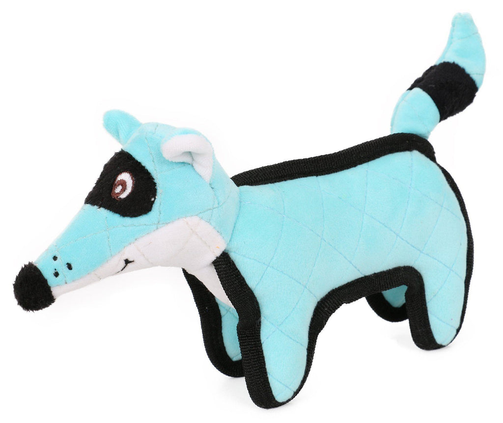 Pet Life ®  'Foxy-Tail Funimal' Animated Cartoon Plush Nylon Quilted Animal Squeaker Chew Tug Pet Dog Toy Blue