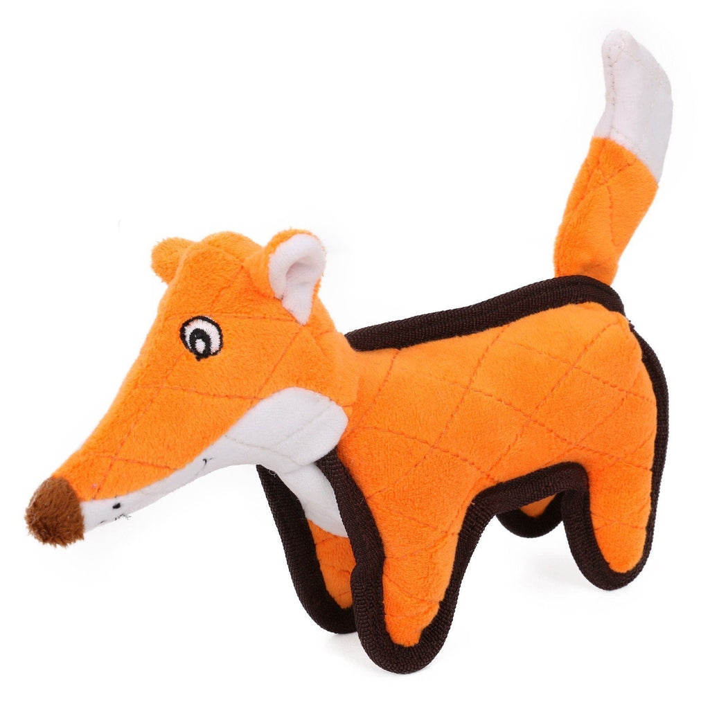 Pet Life ®  'Foxy-Tail Funimal' Animated Cartoon Plush Nylon Quilted Animal Squeaker Chew Tug Pet Dog Toy Orange