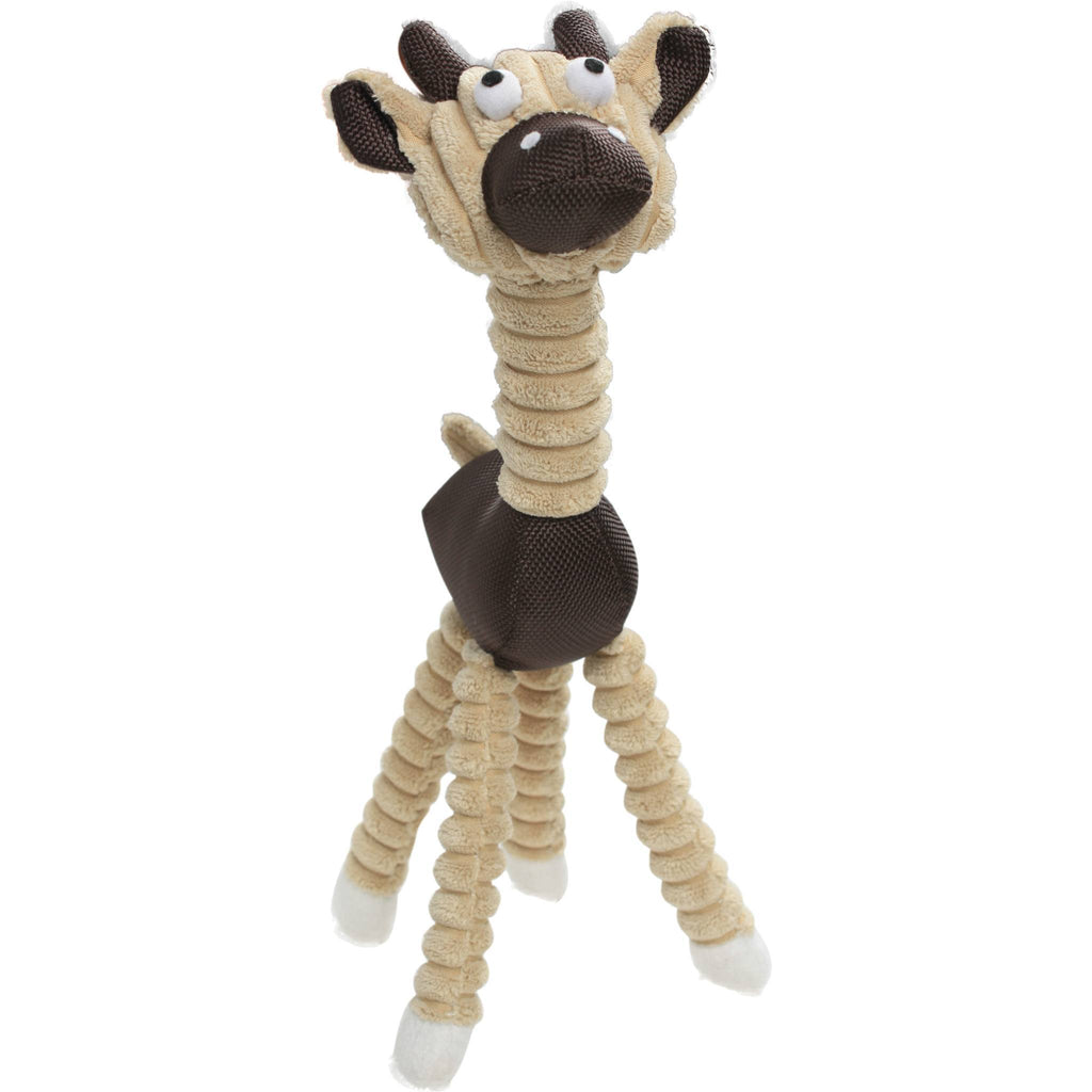 Pet Life ® 'Giraffe Cow' All Natural Recyclable Jute Rope and Squeak Chew Pet Dog Toy Brown