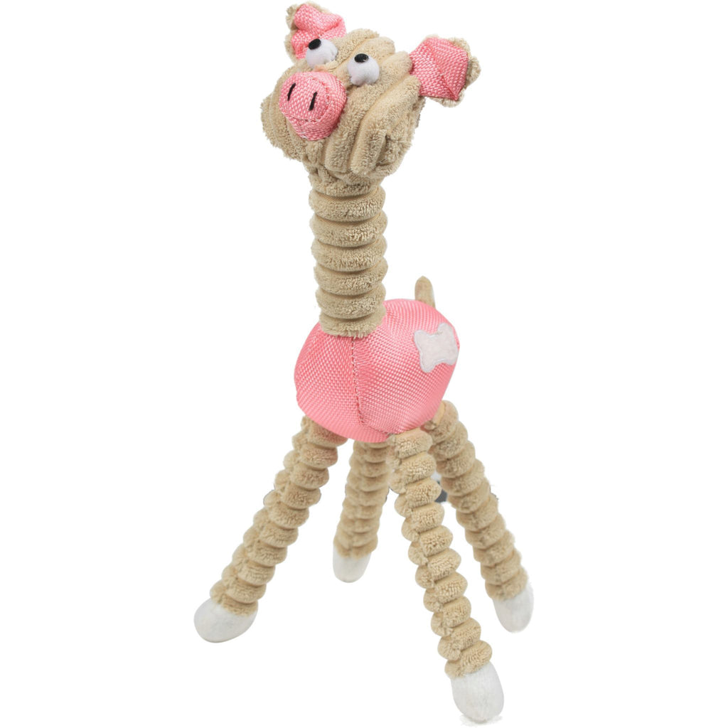 Pet Life ® 'Giraffe Cow' All Natural Recyclable Jute Rope and Squeak Chew Pet Dog Toy Pink