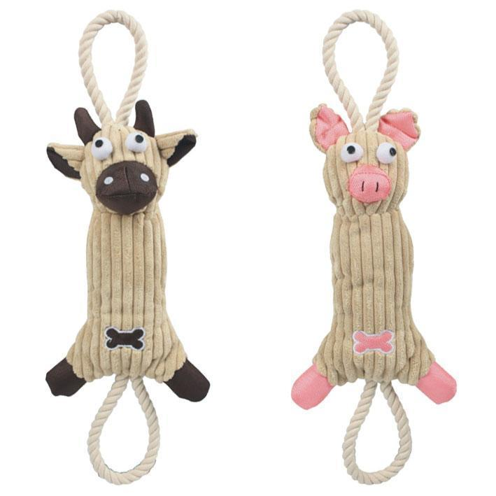 Pet Life ® 'Plush Cow' Eco-friendly Natural Jute and Rope Squeak Chew Tugging Pet Dog Toy