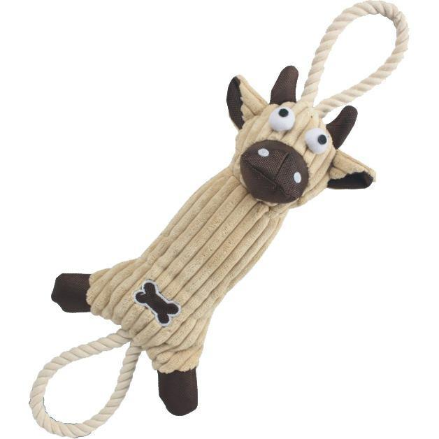 Pet Life ® 'Plush Cow' Eco-friendly Natural Jute and Rope Squeak Chew Tugging Pet Dog Toy Brown