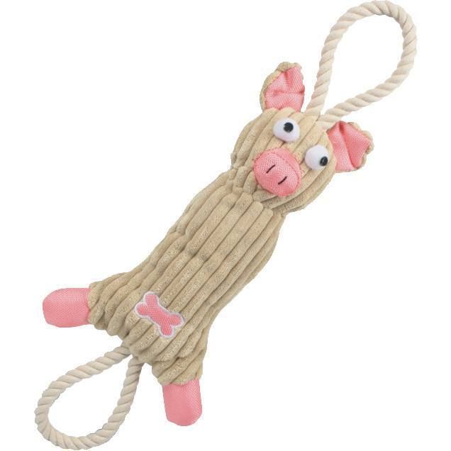 Pet Life ® 'Plush Cow' Eco-friendly Natural Jute and Rope Squeak Chew Tugging Pet Dog Toy Pink