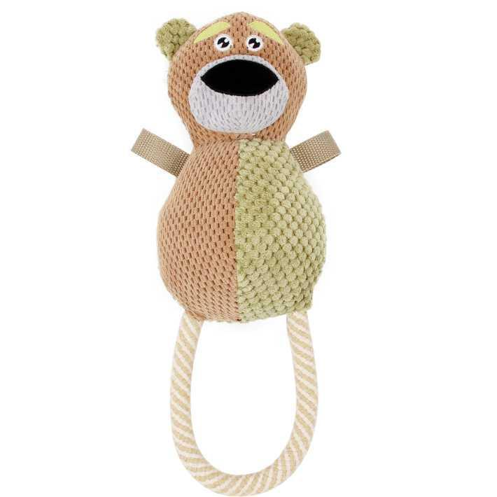 Pet Life ® 'Plush Huggabear' Natural Jute and Squeak Chew Tugging Pet Dog Toy Brown/Olive