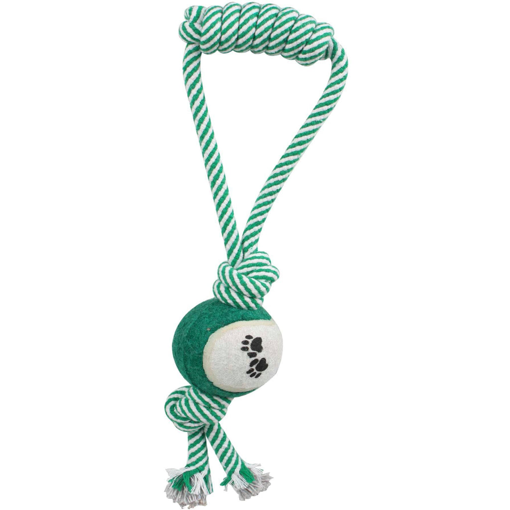 Pet Life ® 'Pull Away' All Natural Recyclable Jute Rope and Tennis Ball Pet Dog Toy Green