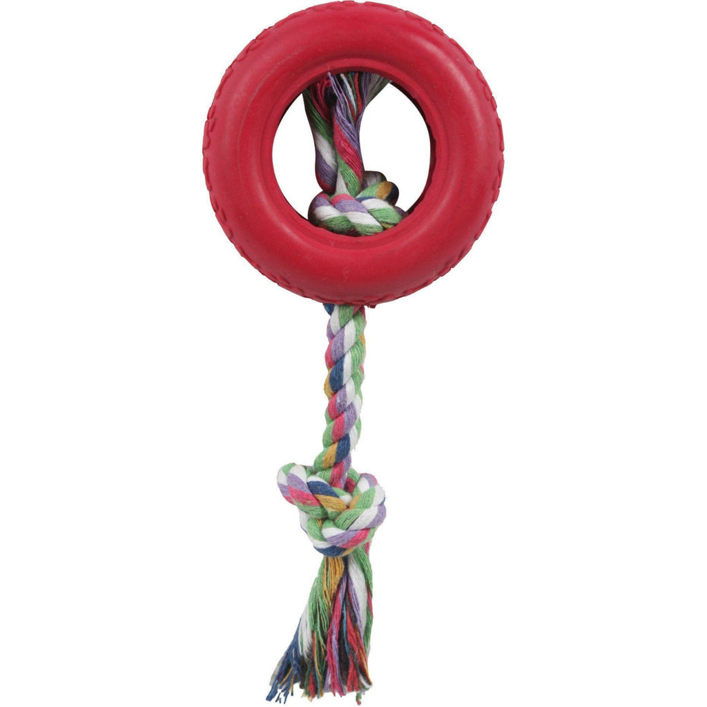 Pet Life ® Rubberized Chew Jute Rope and Tire Pet Dog Toy Red