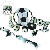 Pet Life ® 'Soccer Themed' 9 Piece Jute Rope and Rubberized Squeak Chew Pet Dog Toy Gift Set Default Title